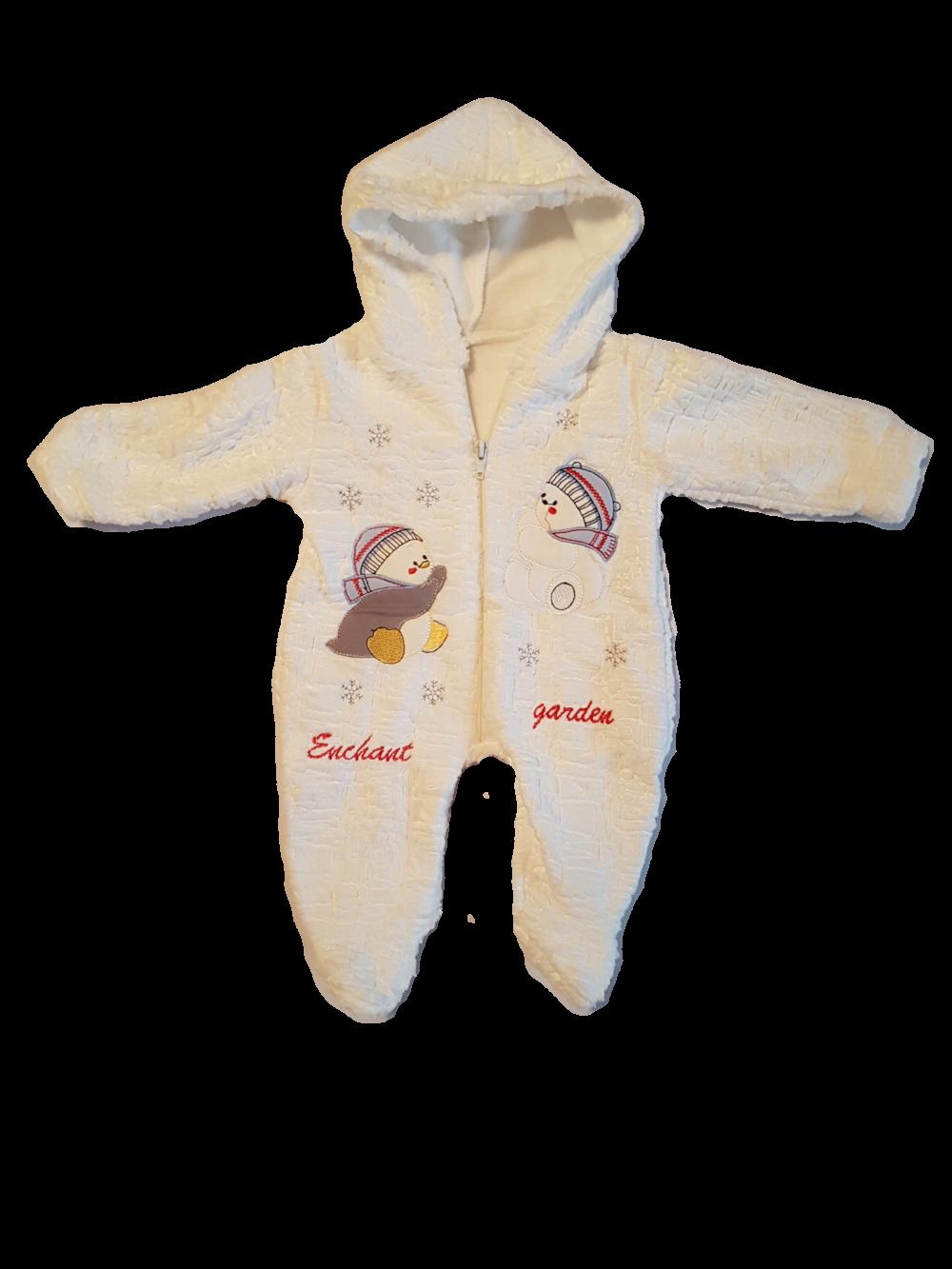 haine bebelusi - combinezion copii bebelusi alb gros oameni de zapada gluga  fermoar e1510342002590 420x560 - 40a79b665dd
