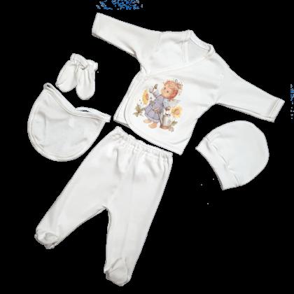 """haine bebelusi - costumas cinci piese ingeras alb bebelusi e1526574727127 420x420 - Haine bebelusi-Costumas 5 piese, crem """"Ingeras"""""""