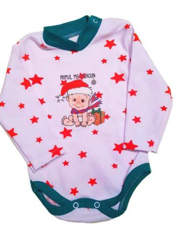 haine bebelusi - body maneca lunga craciun mesaj alb verde bumbac bebelusi 370x480 - Haine bebelusi-Acasa