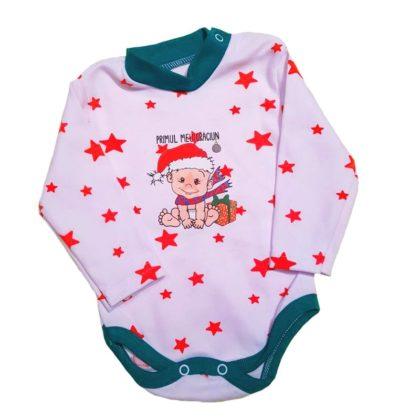 "haine bebelusi - body maneca lunga craciun mesaj alb verde bumbac bebelusi 420x420 - Haine bebelusi-Body cu bebe ""Primul meu Craciun"""