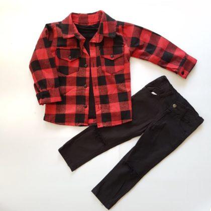 haine bebelusi - costumas camasa rosie carouri 3 piese3 bebelusi 420x420 - Haine Bebelusi- Costumas cu patratele rosii, 3 piese