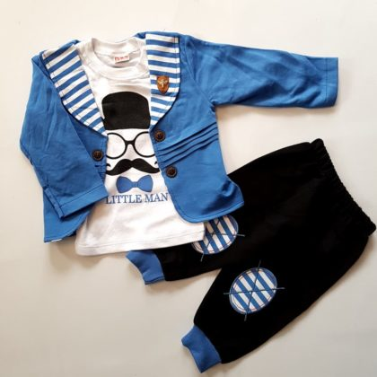 haine bebelusi - costumas 3 piese bumbac bebelusi baietei albastru bumbac 420x420 - Haine bebelusi-Costumas 3 piese bumbac Little Man