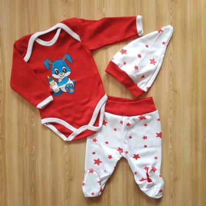 """haine bebelusi - costumas 3 piese bumbac imprimeu bebelusi 420x420 - Haine Bebelusi-Costumas 3 piese bumbac """"Iepuras"""""""