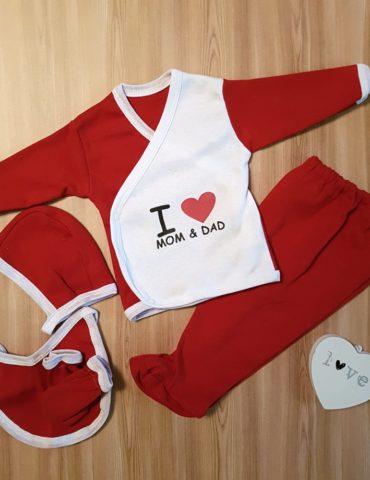haine bebelusi - costumas 5 piesei i love mam dad bumbac bebelusi rosu alb 370x480 - Haine bebelusi-Acasa