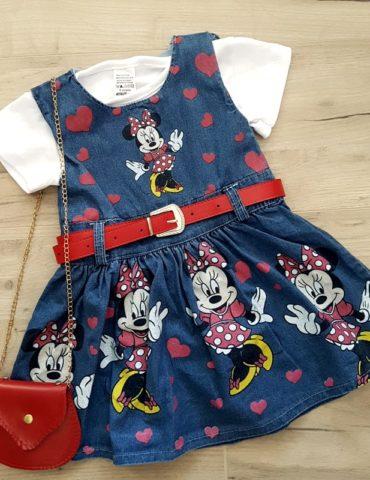 haine bebelusi - rochita cu tricou minnie fete copii bumbac 370x480 - Haine bebelusi-Acasa