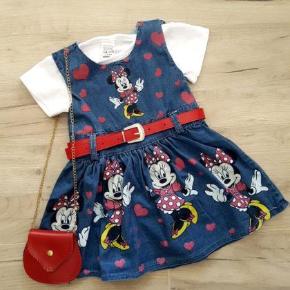 rochita papusica - rochita cu tricou minnie fete copii bumbac 420x420 - Sarafan cu tricou si gentuta Minnie