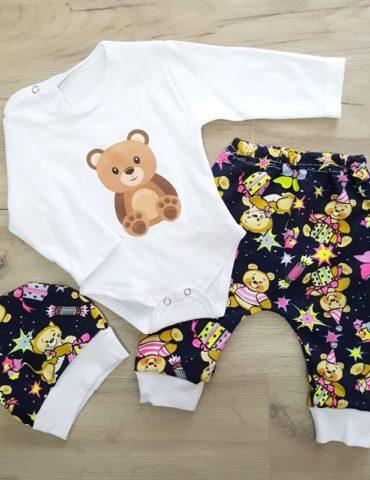 haine bebelusi - costumas 3 piese bumbac ursulet bebelusi copii 370x480 - Haine bebelusi-Acasa