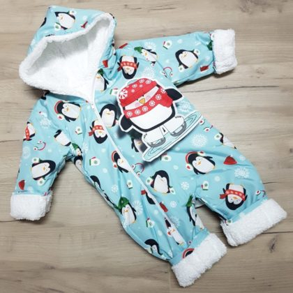 combinezon fas - combinezon fas vatuit albastru pinguin bebelusi copii toamna iarna 420x420 - Combinezon fas imbanit Pinguini albastru