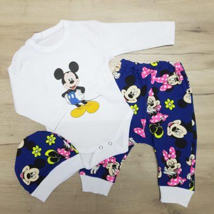 costumas bumbac bebelusi - costumas 3 piese bumbac bebelusi imprimeu 420x420 - Costumas bumbac 3 piese Mickey 3-12 luni