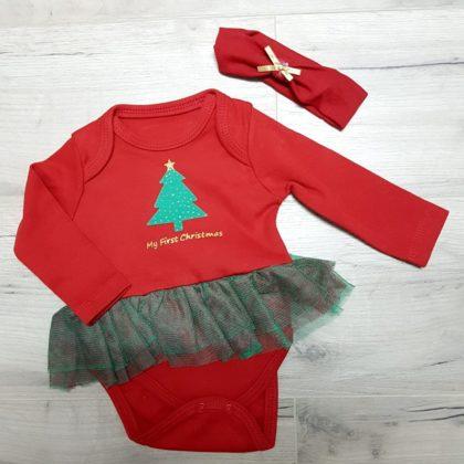 body rochita - body craciun bumbac bebelusi1 420x420 - Body rochita First Christmas