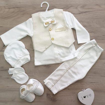 costumas botez - costumas botez bebelusi baieti bumbac auriu alb 420x420 - Costumas botez 6 piese elegant auriu 3 luni