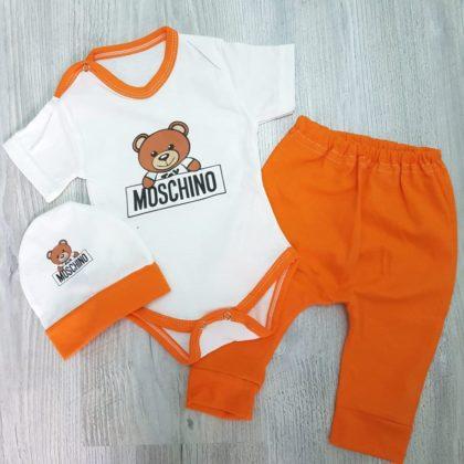 costumas 3 piese ursulet - costumas 3 piese ursulet portocaliu bumbac 420x420 - Costumas 3 piese ursulet portocaliu 0-12 luni