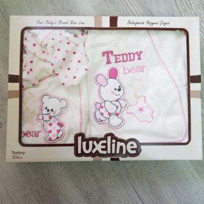 caseta cadou - costumas 5 piese bumbac bebelusi nou nascuti ursulet roz caseta1 420x420 - Caseta cadou costumas 5 piese Ursulet roz 0-3 luni