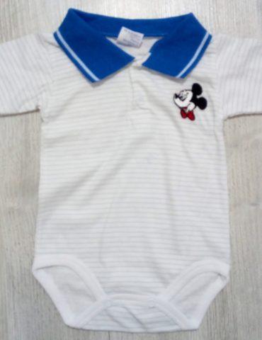 Body alb cu guler albastru 3-12 luni