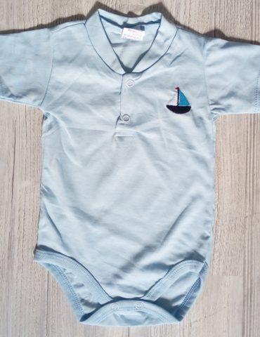 body albastru din bumbac 3-12 luni