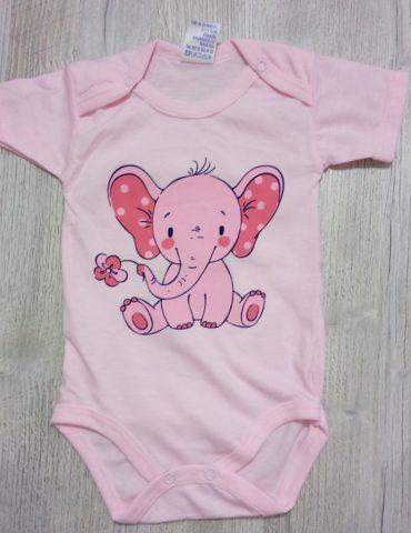 "body roz din bumbac model""elefantel"" 3-12 luni"