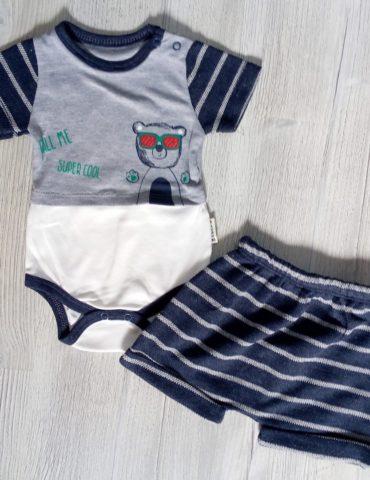 "Body si pantaloni scurti ""call me super cool""3-9 luni"