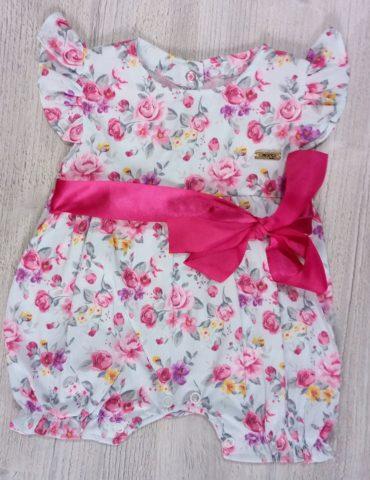 Rochita cu trandafiri si funda roz 3-9 luni